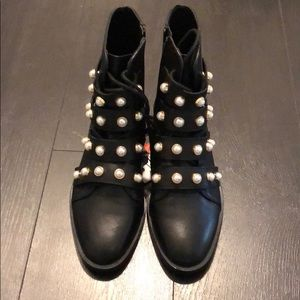 Zara leather faux pearl boots